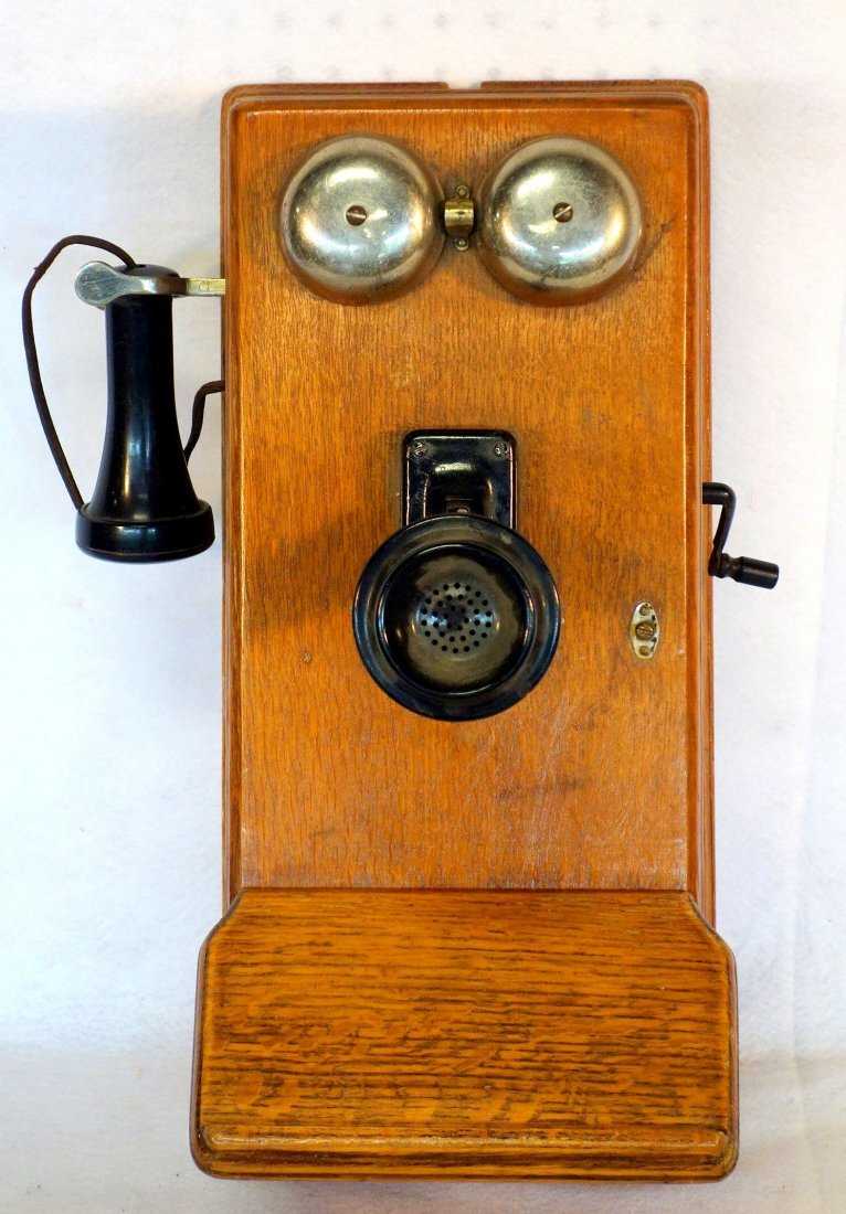 Vintage oak wall telephone, complete with original