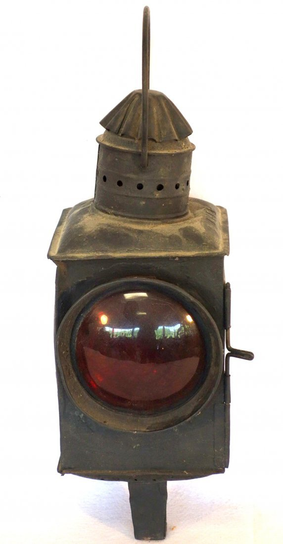 Old RR lantern with colorless and s red lens signed