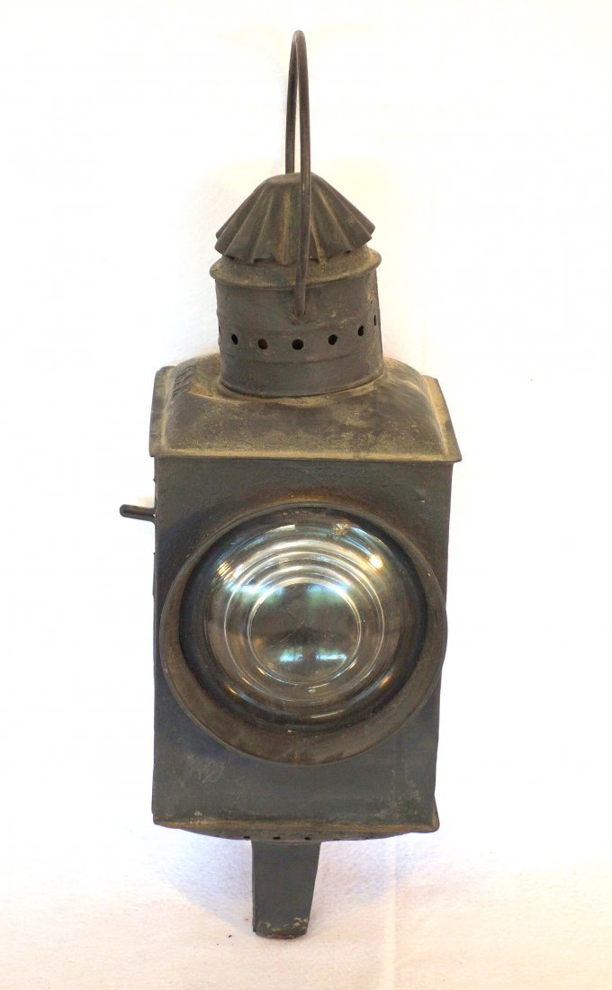 Old RR lantern with colorless and s red lens signed - 2