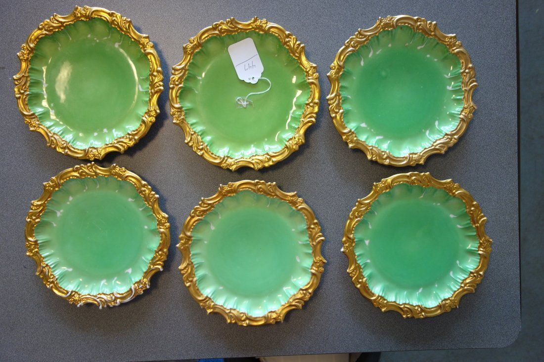 Grouping of 6 Limoges plates in green paint with fancy