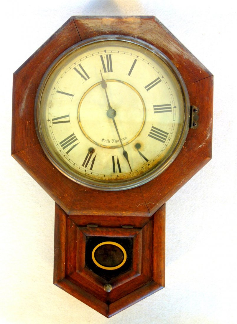 Seth Thomas oak school house clock with key and