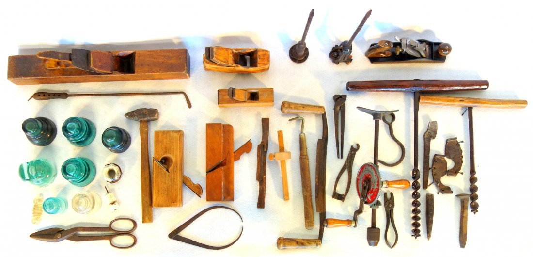 Large grouping of early tools including large wooden