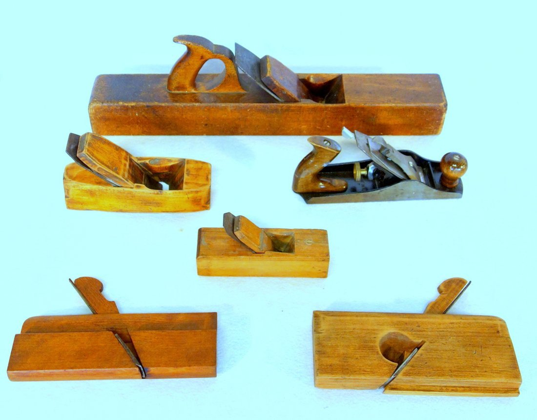Large grouping of early tools including large wooden - 3
