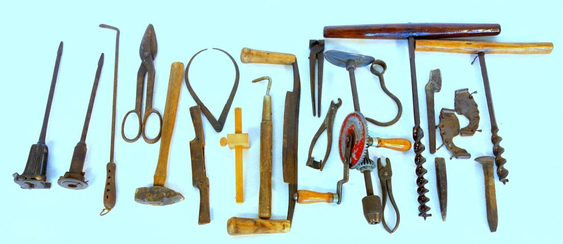 Large grouping of early tools including large wooden - 4