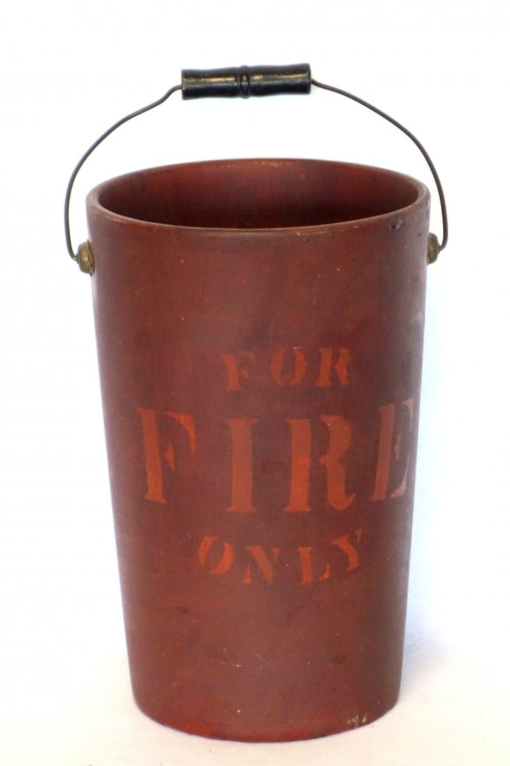 """Composition fiber fire bucket stenciled """"FOR FIRE ONLY"""""""
