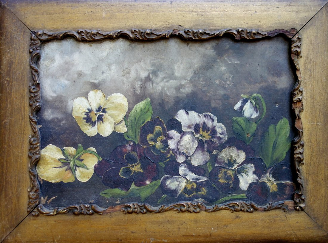 O/C Still life of pansies - late 19th to early 20th