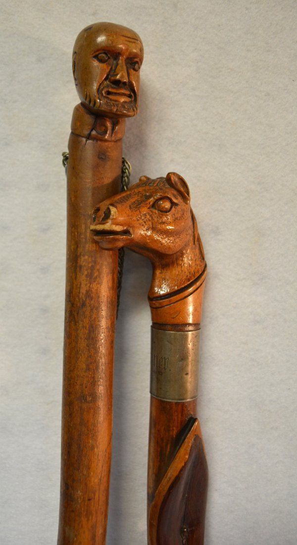 Two carved figural walking sticks including one with - 3