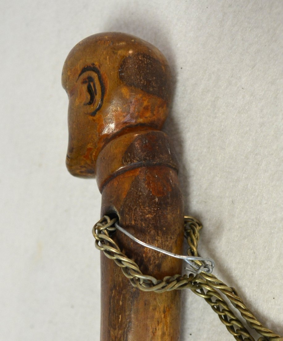 Two carved figural walking sticks including one with - 7