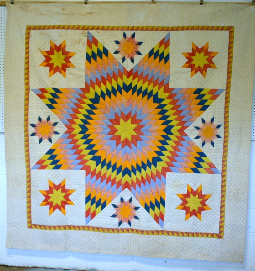 Graphic Lone Star pattern hand sewn quilt - reverse