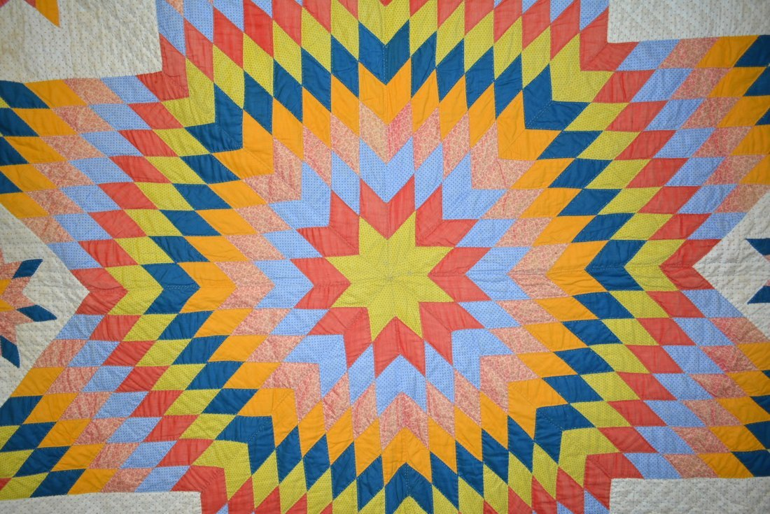 Graphic Lone Star pattern hand sewn quilt - reverse - 2