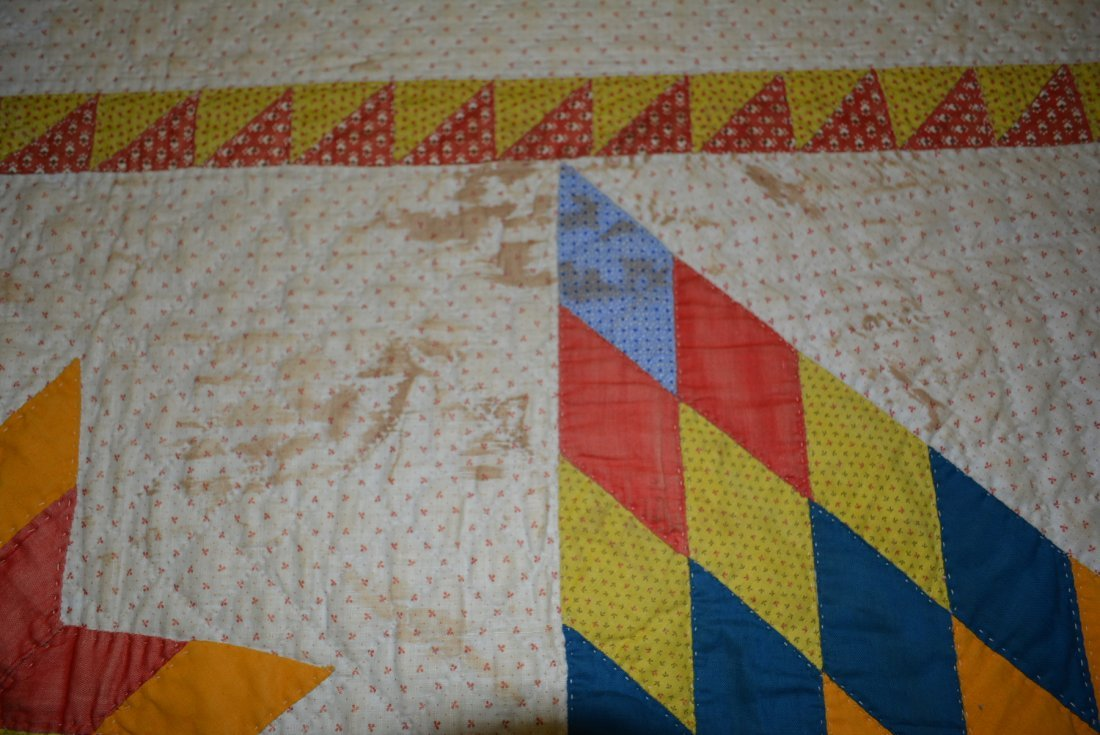 Graphic Lone Star pattern hand sewn quilt - reverse - 3