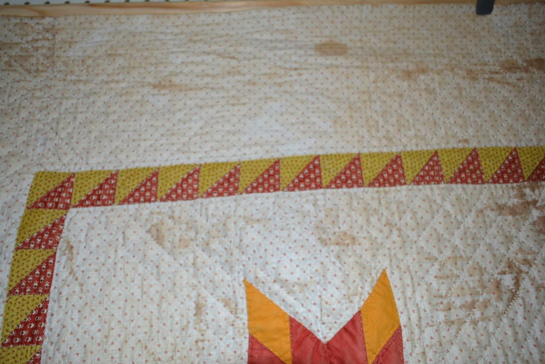 Graphic Lone Star pattern hand sewn quilt - reverse - 4