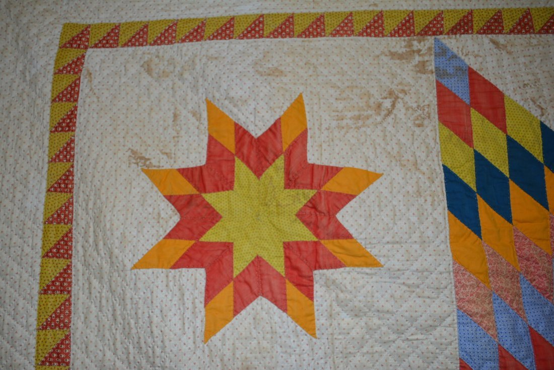 Graphic Lone Star pattern hand sewn quilt - reverse - 5