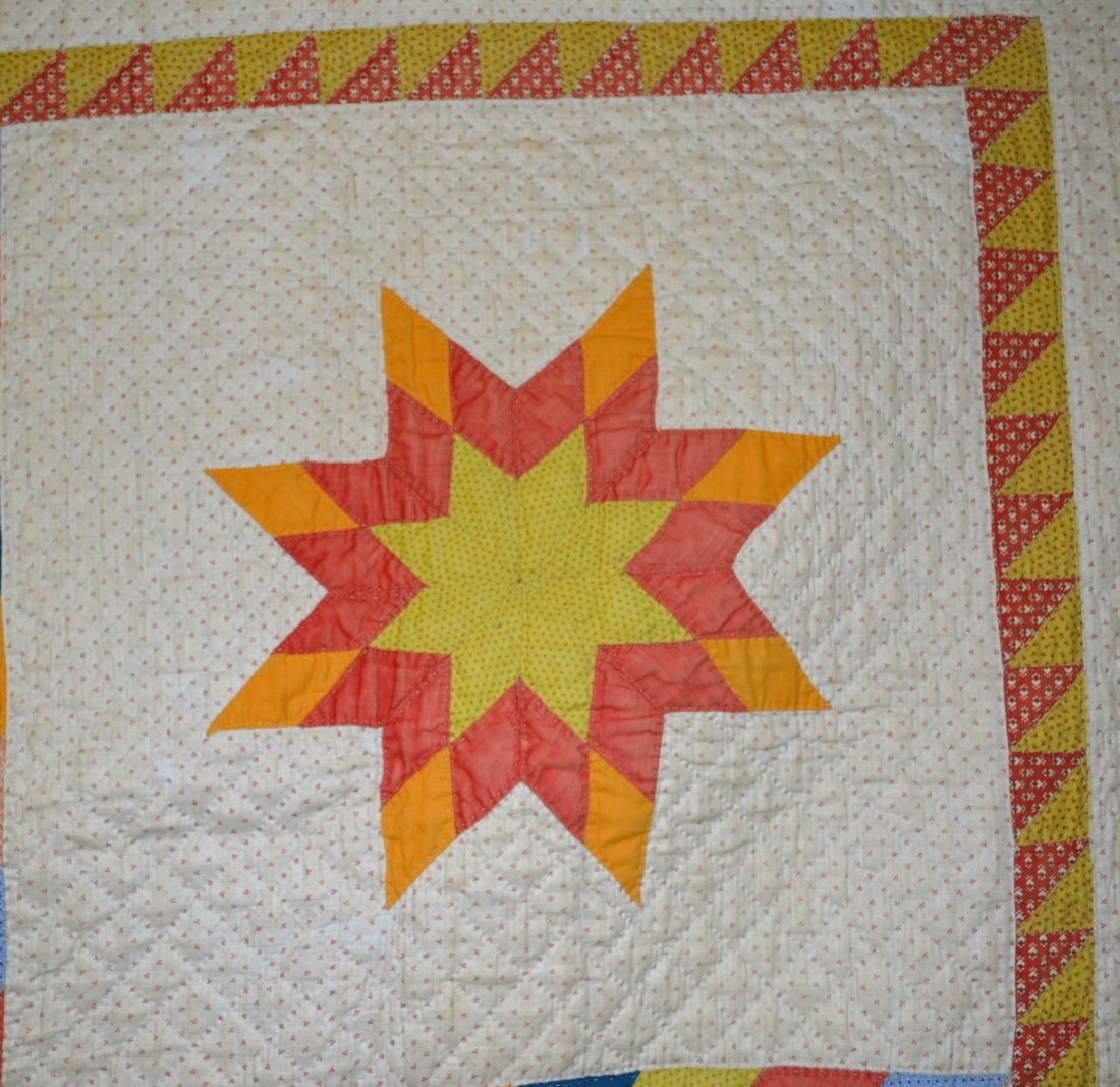 Graphic Lone Star pattern hand sewn quilt - reverse - 6
