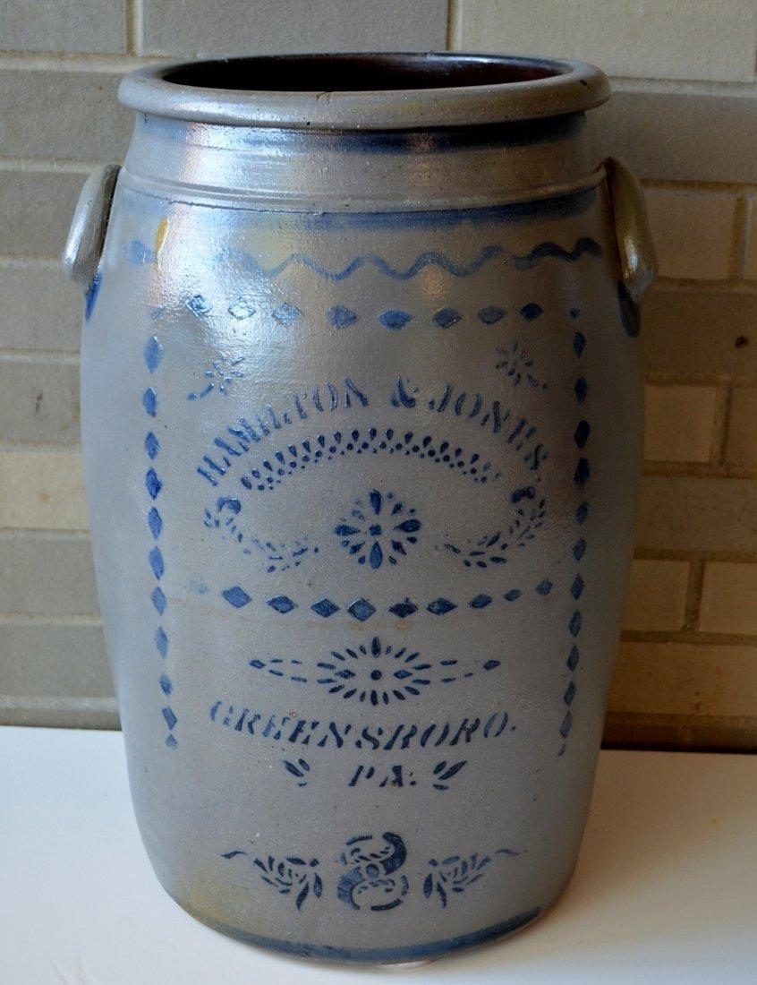 Large Pennsylvania stoneware 8 gallon cobalt blue
