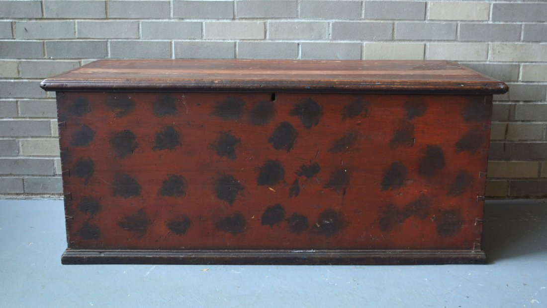 Good blanket box in original red paint with black