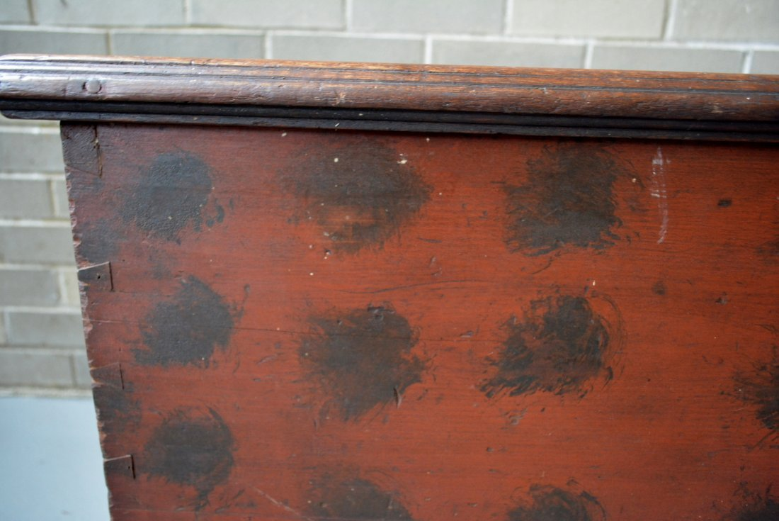 Good blanket box in original red paint with black - 3