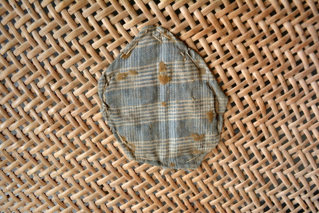 Primitive winnowing basket with homespun repairs to - 2