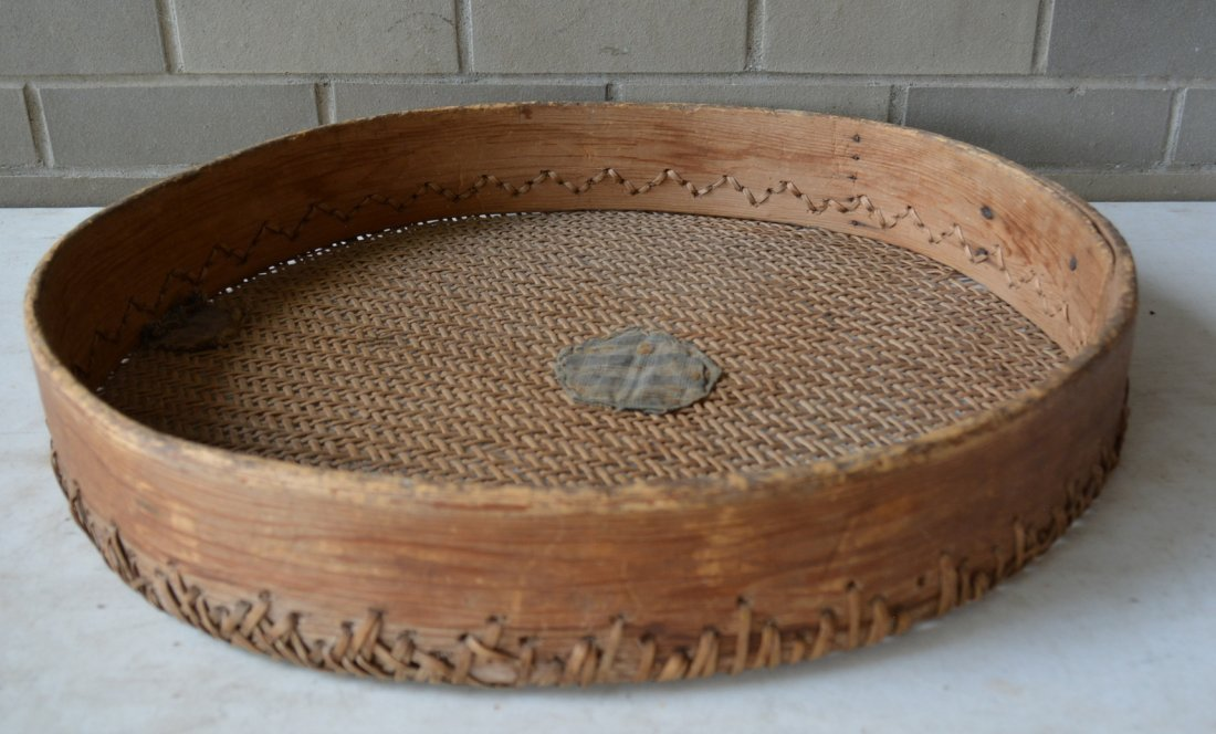 Primitive winnowing basket with homespun repairs to - 3