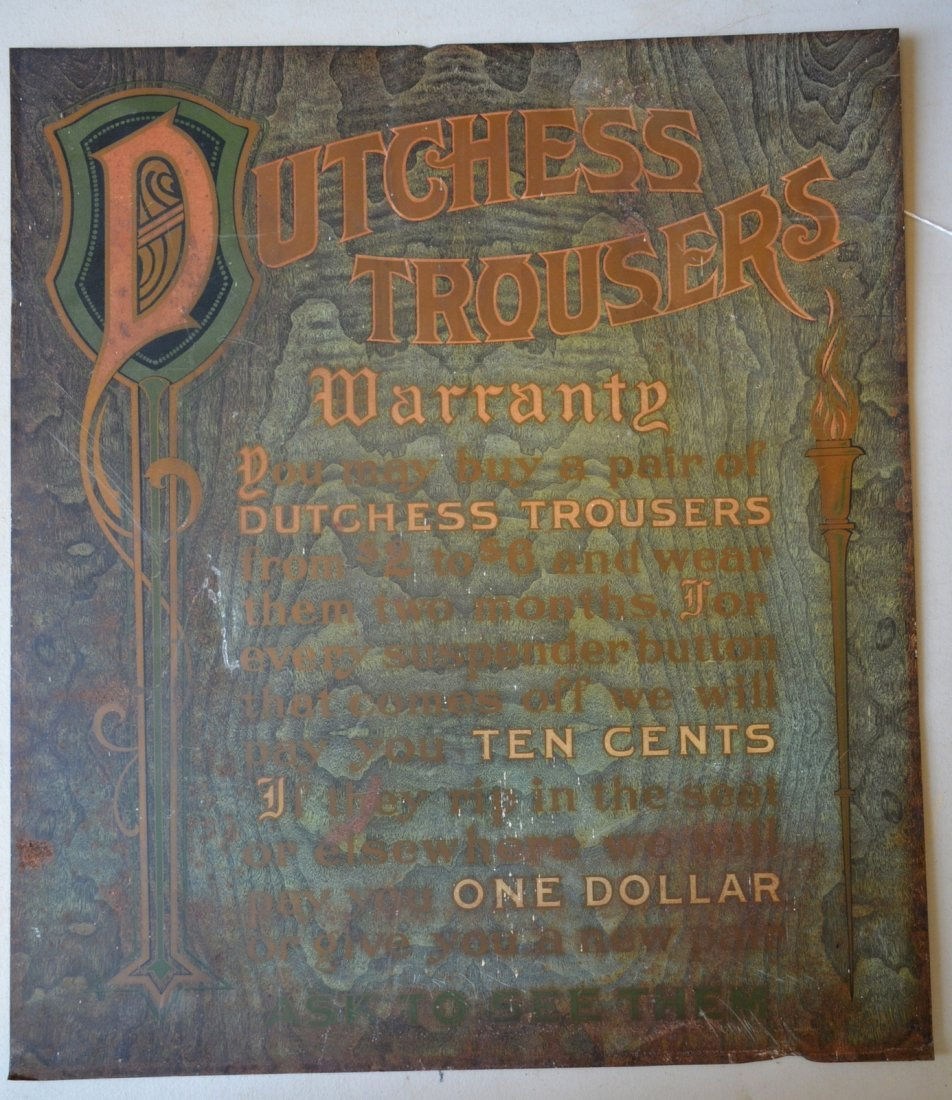 "Tin advertising sign for DUTCHESS TROUSERS - 20.5"" x"
