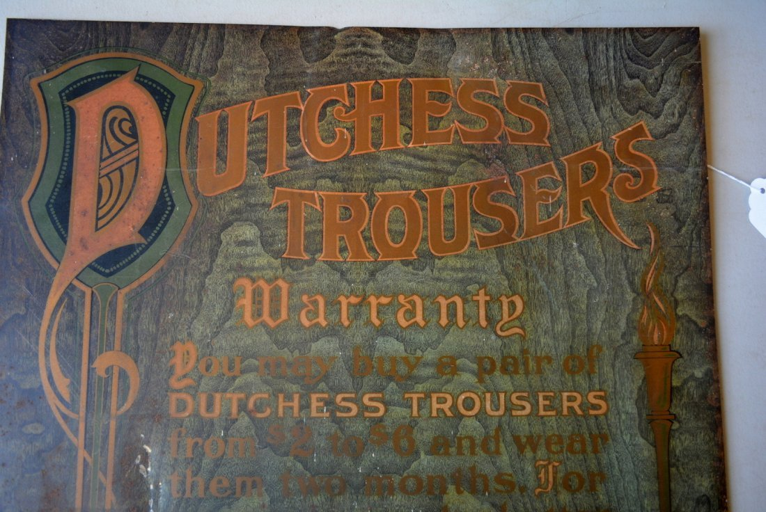 "Tin advertising sign for DUTCHESS TROUSERS - 20.5"" x - 2"