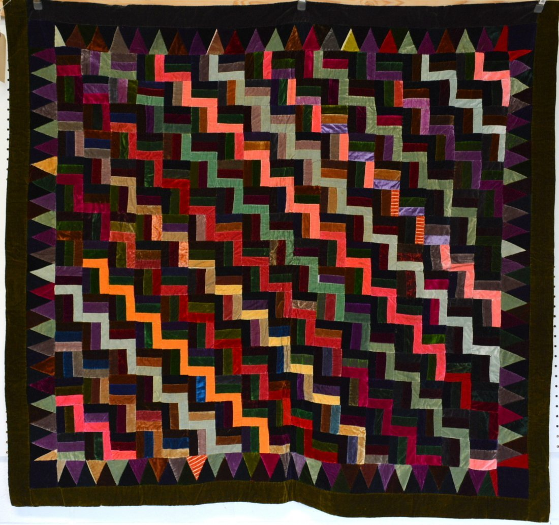 Velvet log cabin quilt, youth size and very colorful