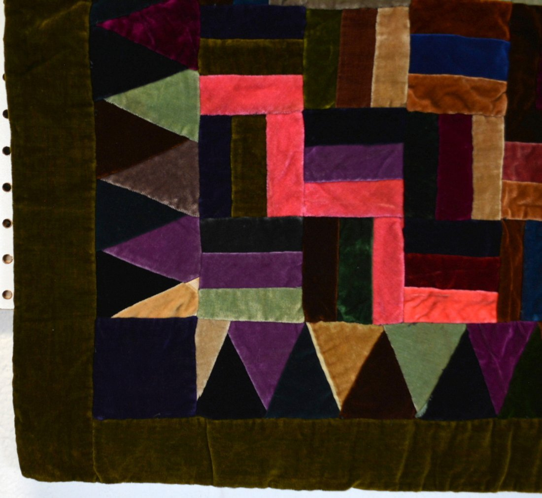 Velvet log cabin quilt, youth size and very colorful - 2
