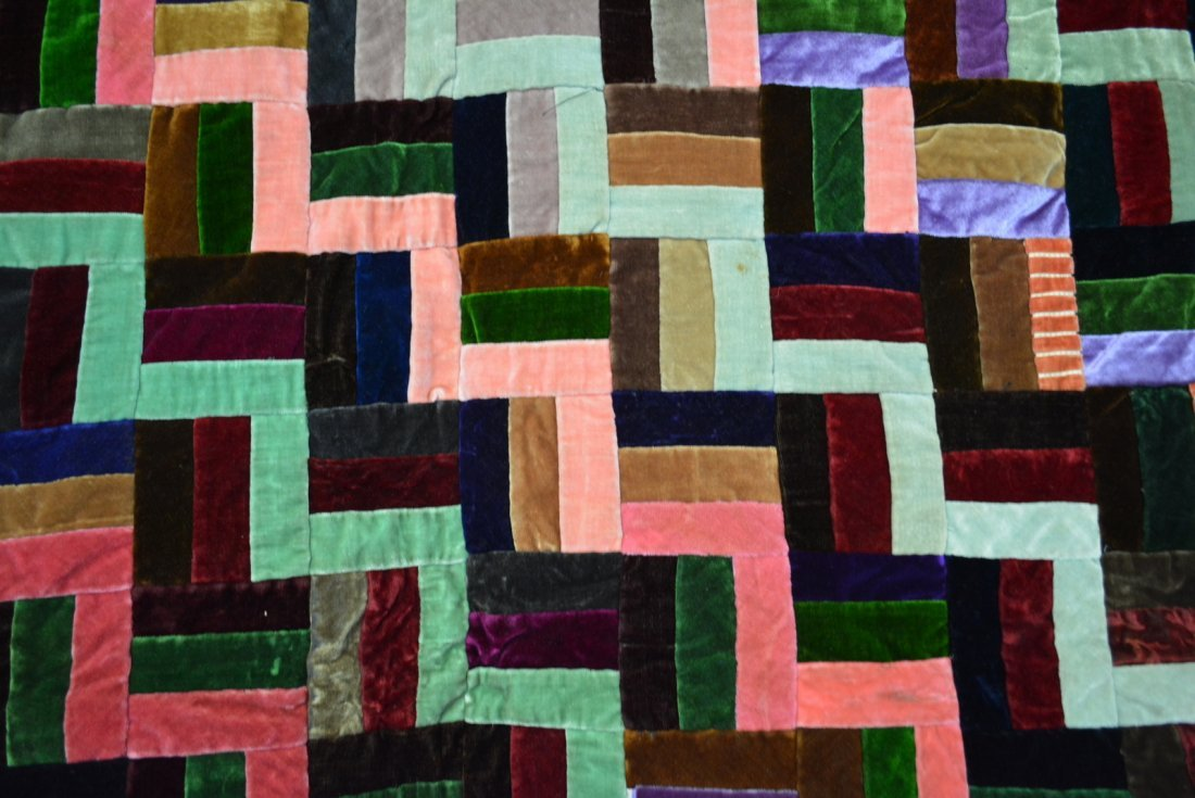 Velvet log cabin quilt, youth size and very colorful - 3