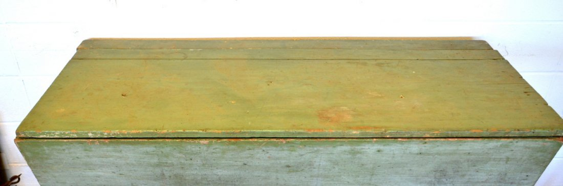 Grain bin in old green over white paint, having canted - 2