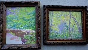 Woodstock NY school - Two Impressionist O/B Wooded