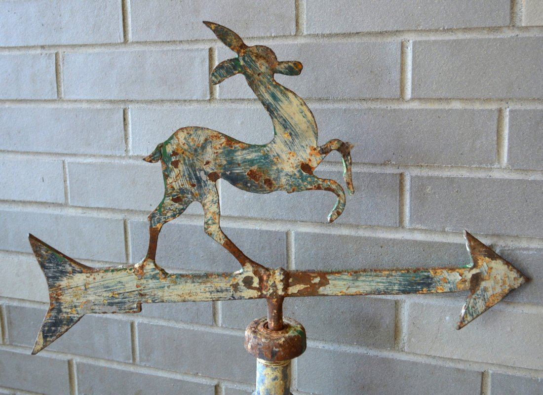 Two silhouette iron and tin deer weathervanes. The - 2