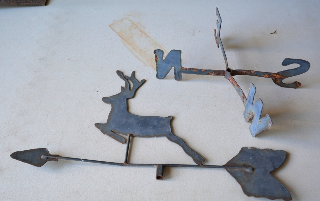 Two silhouette iron and tin deer weathervanes. The - 4