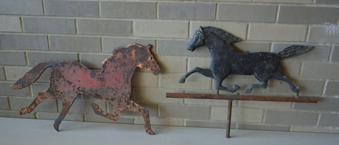 Two running horse weathervanes including a zinc molded