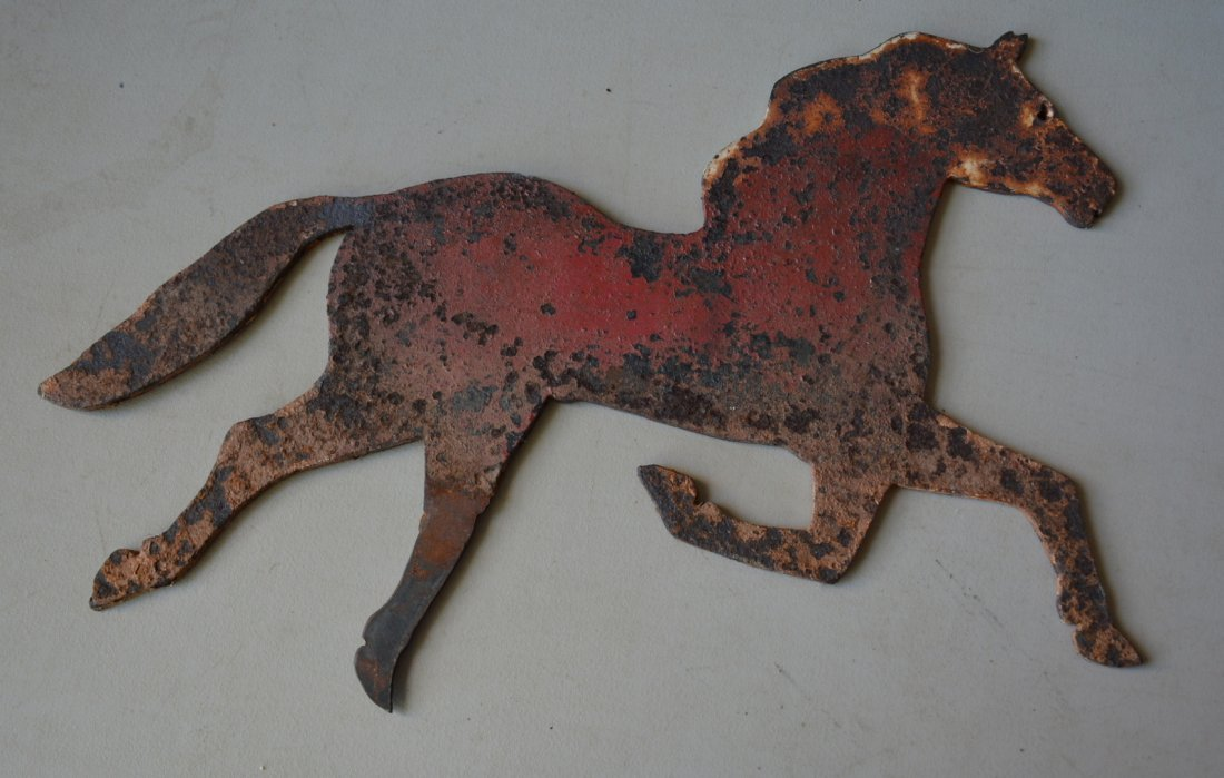 Two running horse weathervanes including a zinc molded - 2