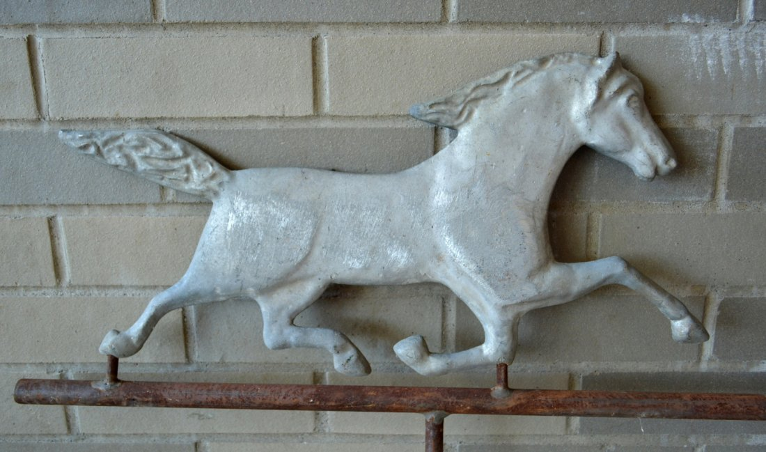 Two running horse weathervanes including a zinc molded - 3