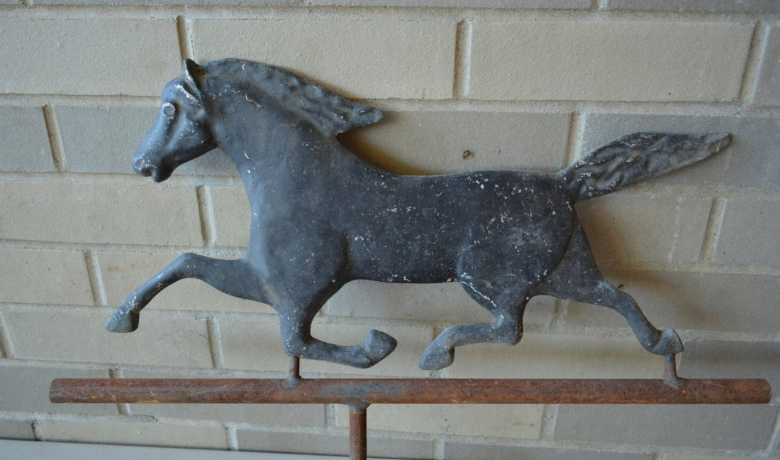 Two running horse weathervanes including a zinc molded - 4
