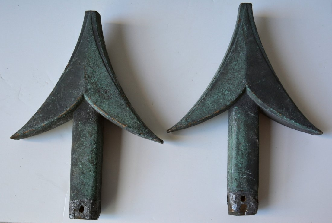 Grouping of architectural ornaments including 2 bronze - 2