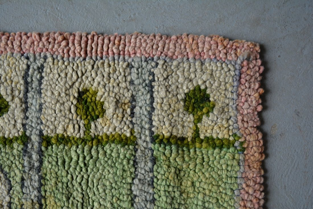 Whimsical pictorial hooked rug of a rabbit crawling - 2
