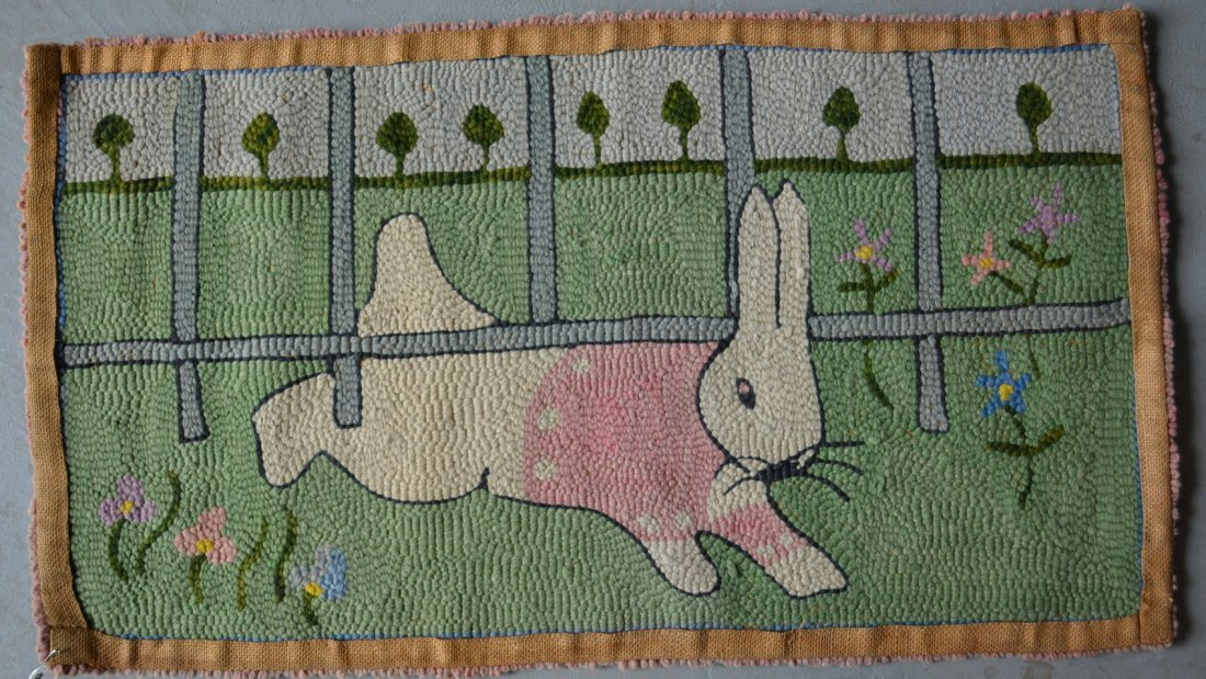Whimsical pictorial hooked rug of a rabbit crawling - 3
