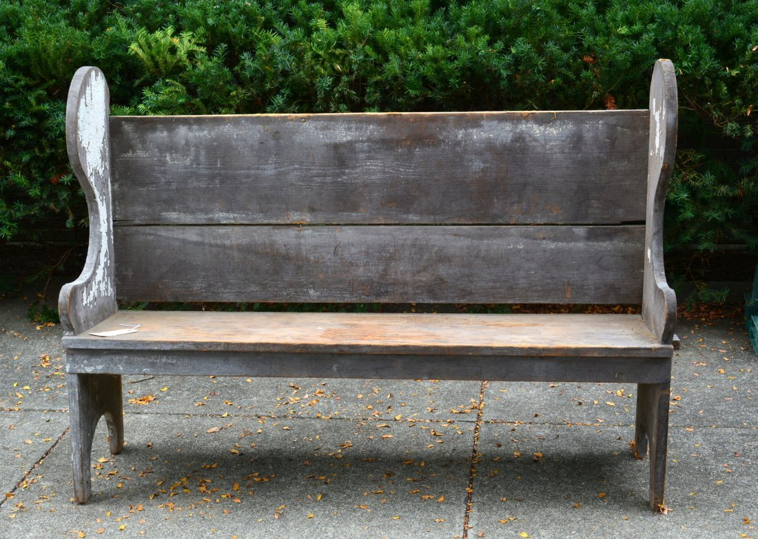Primitive wooden porch settle bench, late 19th to early