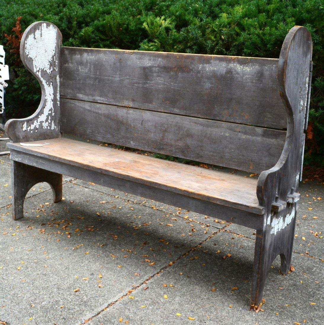 Primitive wooden porch settle bench, late 19th to early - 2