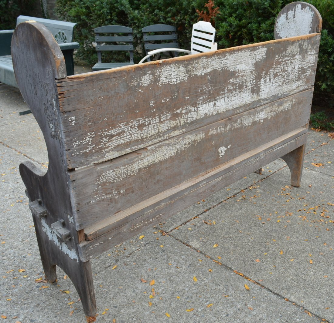 Primitive wooden porch settle bench, late 19th to early - 4