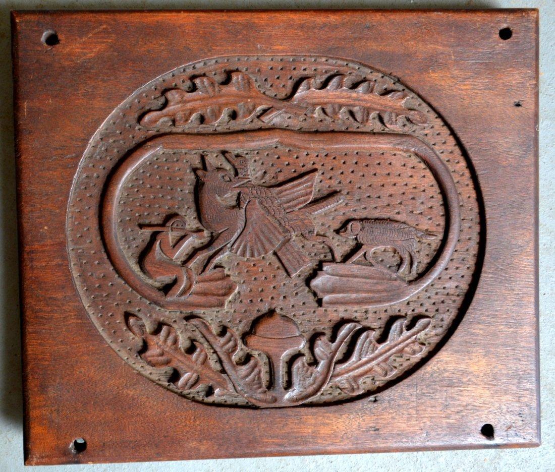 Folkart hand carved black walnut plaque depicting a