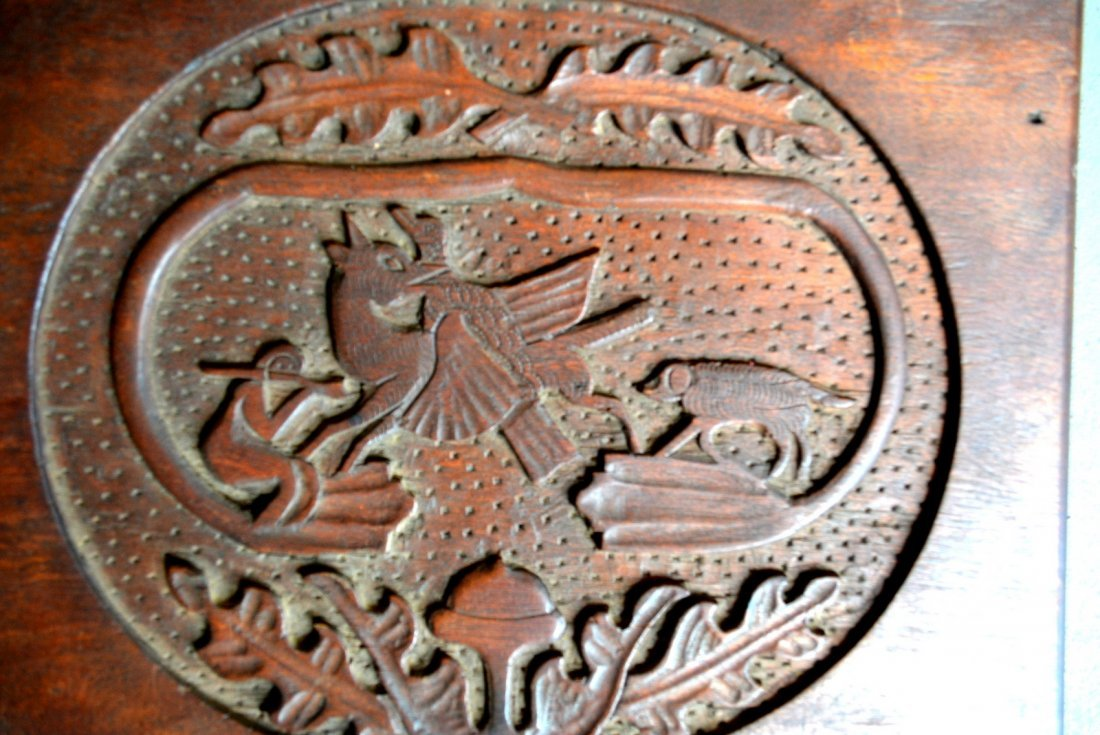 Folkart hand carved black walnut plaque depicting a - 2