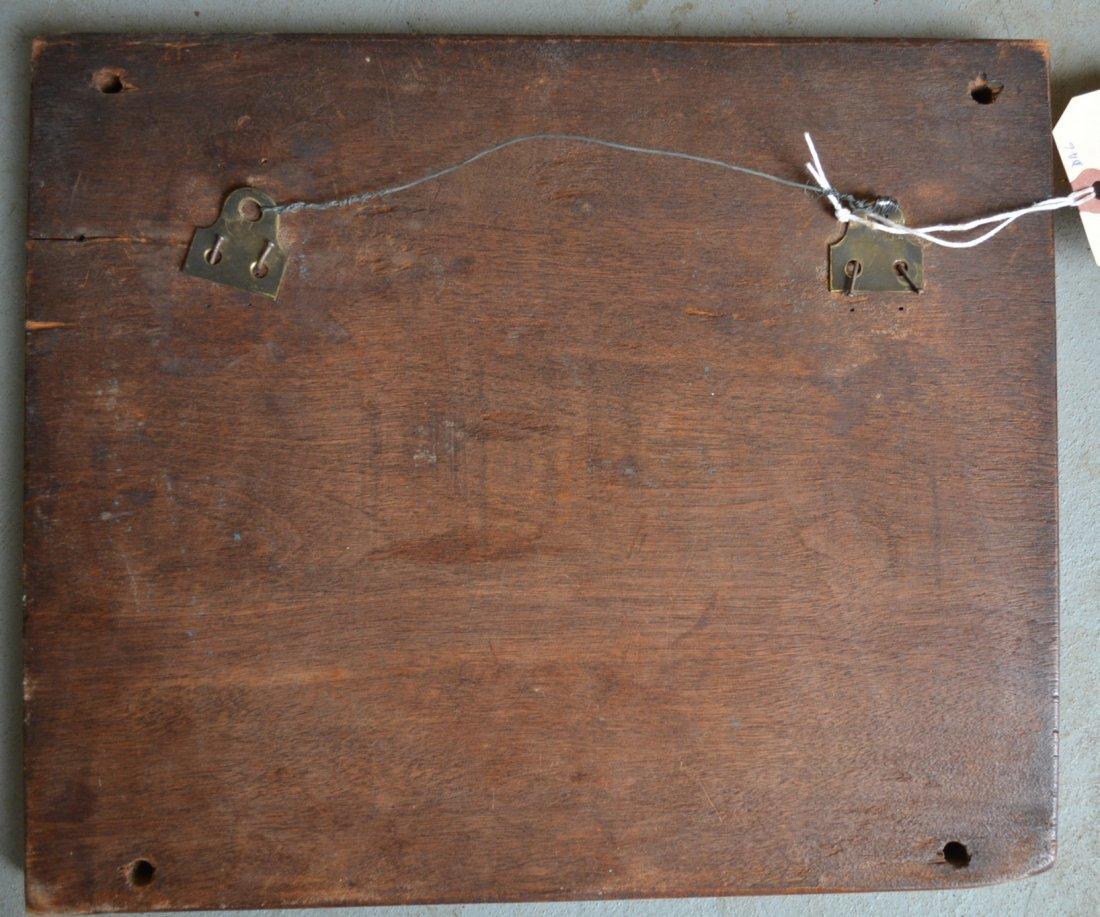Folkart hand carved black walnut plaque depicting a - 3
