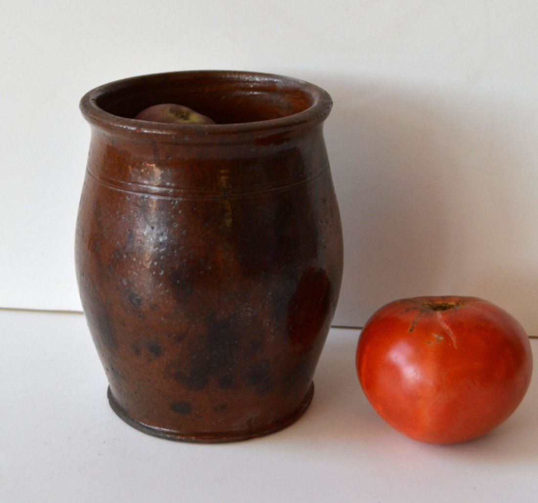 "Small redware jar with manganese decoration - 6""H. One"