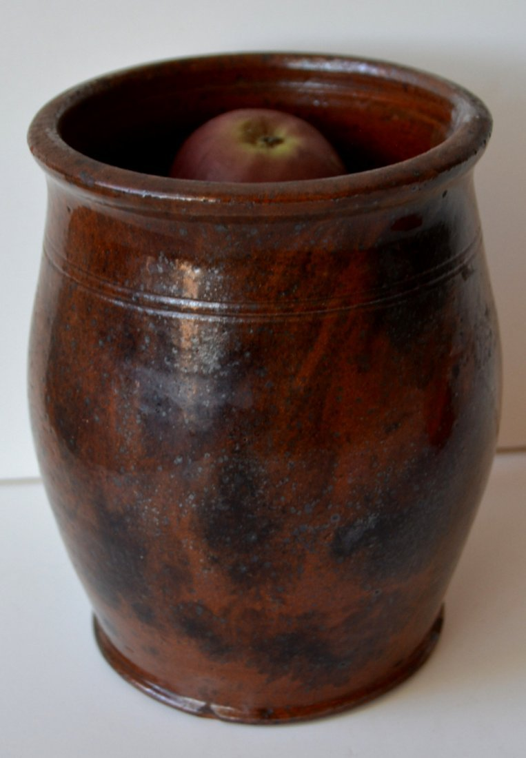 """Small redware jar with manganese decoration - 6""""H. One - 2"""
