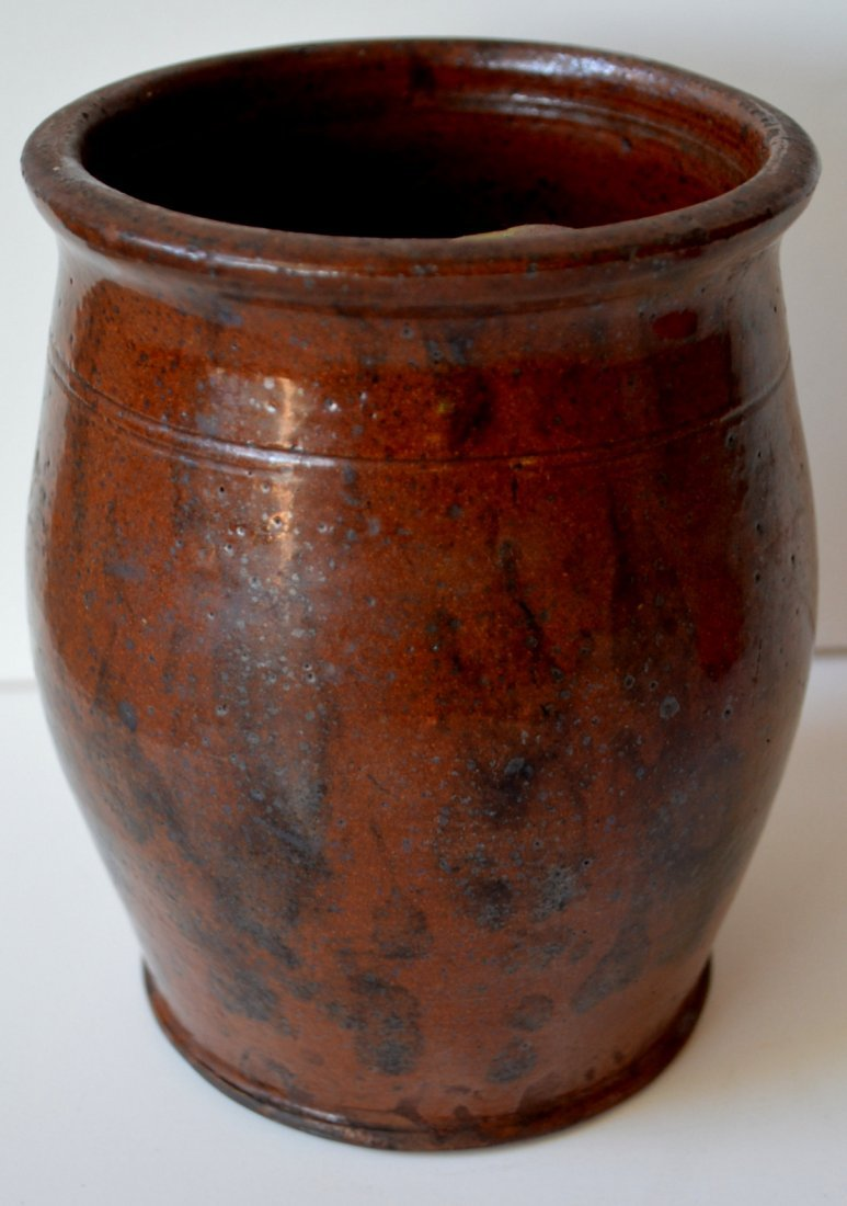 """Small redware jar with manganese decoration - 6""""H. One - 3"""
