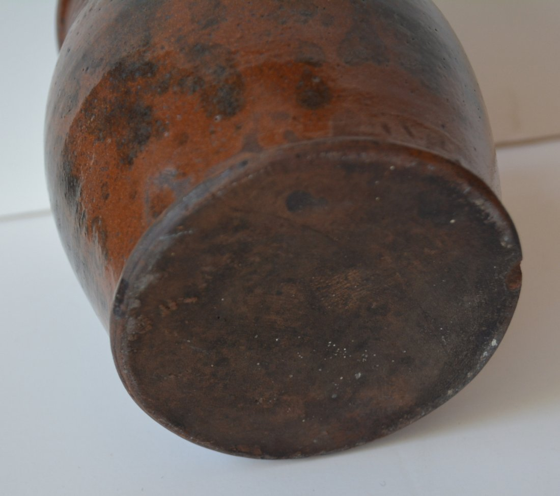 """Small redware jar with manganese decoration - 6""""H. One - 4"""