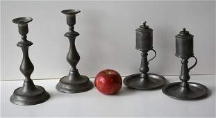 Four early pewter lighting devices including a matched